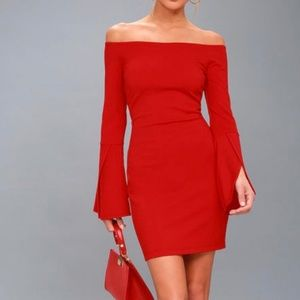 Red off the shoulder long sleeve bodycon dress